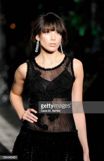 Daisy Lowe walks the runway during a fashion show at the Leon Max Winter Dinner and Dance for 'Too Many Women' in support of Breakthrough Breast...