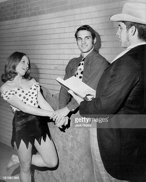 MAR 9 1969 MAR 14 1969 MAR 19 1969 Daisy Mae Gefs Her Man Daisy Mae finally gets married to Li'l Abner by Marryin Sam in this photo taken during...