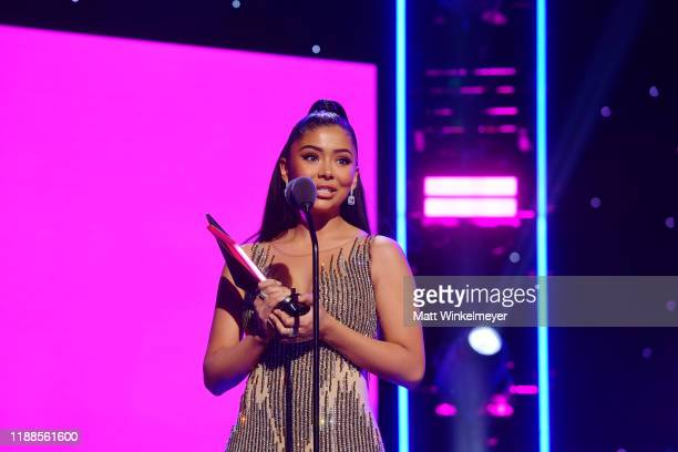 Daisy Marquez speaks onstage during the 2nd Annual American Influencer Awards at Dolby Theatre on November 18 2019 in Hollywood California