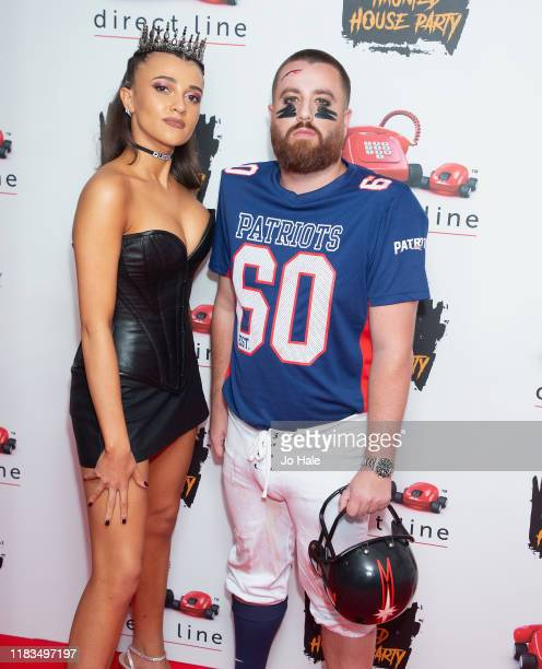 Daisy Maskell and Tom Green attend the KISS Haunted House Party 2019 at The SSE Arena Wembley on October 25 2019 in London England