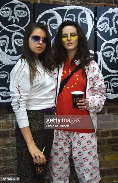 Daisy Maybe and Bee Beardsworth attend the 'Something To Hate On' exhibition and popup launch on October 5 2017 in London England