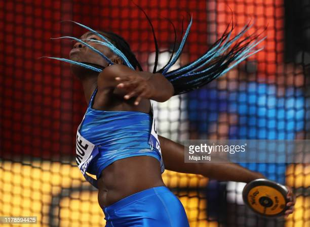 Daisy Osakue of Italy competes in the Women's Discus qualification during day six of 17th IAAF World Athletics Championships Doha 2019 at Khalifa...
