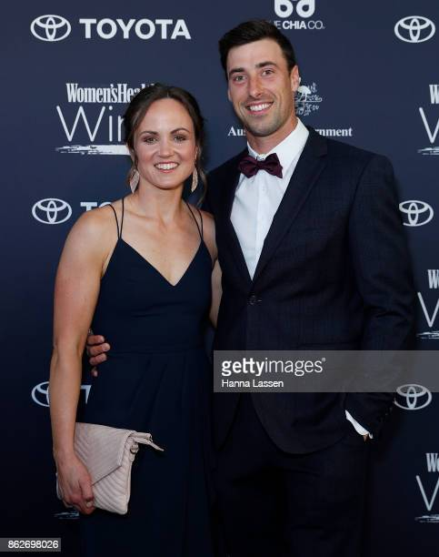 Daisy Pearce and Angus Parry arrive ahead of Women's Health Women In Sport Awards on October 18 2017 in Sydney Australia