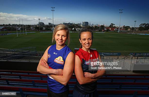 Daisy Pearce and Katie Brennan pose during the announcement of the final AFL Women's Exhibition Match with the Western Bulldogs to host Melbourne at...