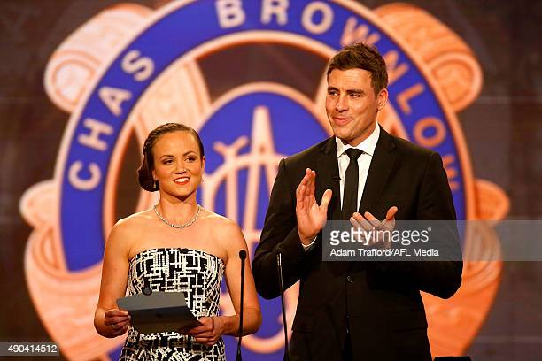 Daisy Pearce and Matthew Richardson present the Goal of the Year awardduring the 2015 Brownlow Medal count at the Crown Palladium Melbourne Australia...