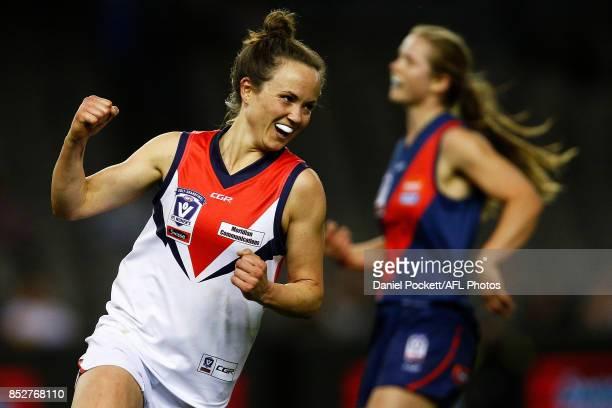 Daisy Pearce of Darebin celebrates a goal during the VFL Women's Grand Final match between Diamond Creek and Darebin at Etihad Stadium on September...