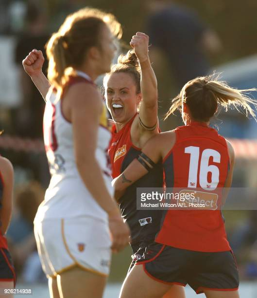 Daisy Pearce of the Demons celebrates a goal during the 2018 AFLW Round 05 match between the Melbourne Demons and the Brisbane Lions at Casey Fields...