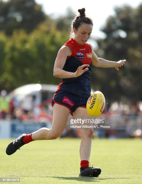 Daisy Pearce of the Demons in action during the 2018 AFLW Round 01 match between the Melbourne Demons and the GWS Giants at Casey Fields on February...