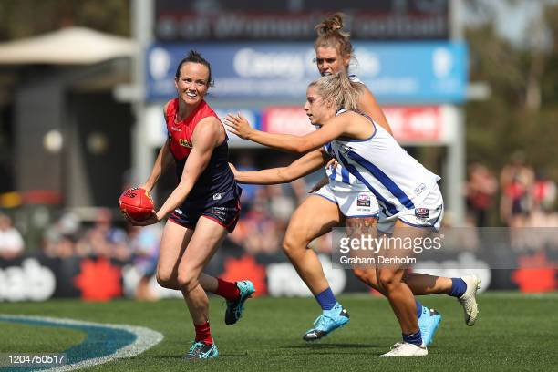 Daisy Pearce of the Demons in action during the round one AFLW match between the Melbourne Demons and the North Melbourne Kangaroos at Casey Fields...