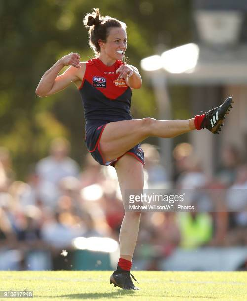 Daisy Pearce of the Demons kicks the ball during the 2018 AFLW Round 01 match between the Melbourne Demons and the GWS Giants at Casey Fields on...