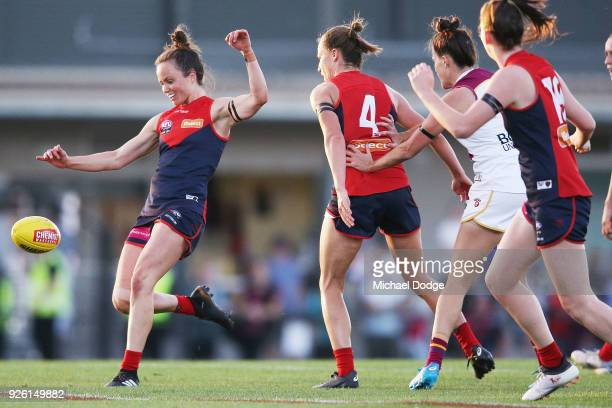 Daisy Pearce of the Demons kicks the ball during the round five AFLW match between the Melbourne Demons and the Brisbane Lions at Casey Fields on...