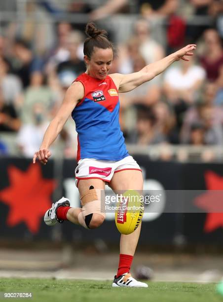 Daisy Pearce of the Demons kicks the ball during the round six AFLW match between the Carlton Blues and the Melbourne Demons at Ikon Park on March 11...