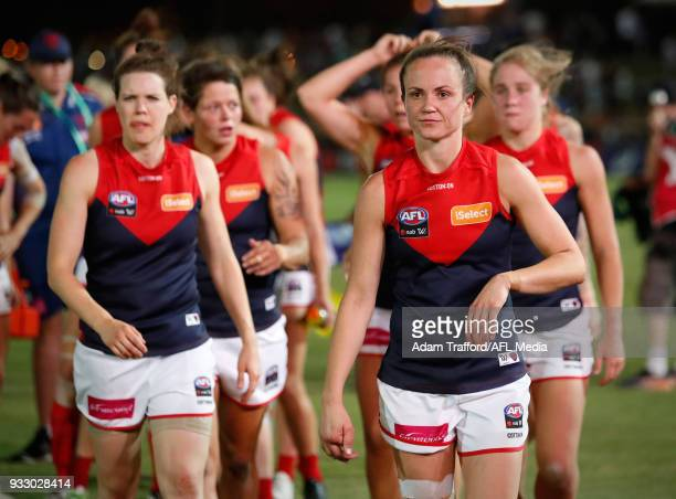 Daisy Pearce of the Demons looks dejected after a loss during the 2018 AFLW Round 07 match between the Western Bulldogs and the Melbourne Demons at...