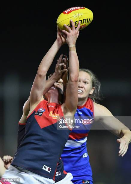 Daisy Pearce of the Demons marks during the round seven AFLW match between the Western Bulldogs and the Melbourne Demons at Whitten Oval on March 17...