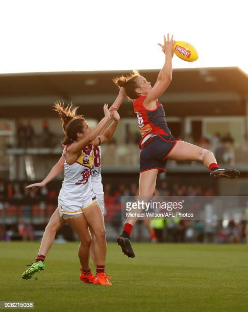 Daisy Pearce of the Demons marks the ball during the 2018 AFLW Round 05 match between the Melbourne Demons and the Brisbane Lions at Casey Fields on...