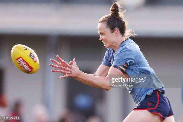 Daisy Pearce of the Demons marks the ball in the warm up during the round five AFLW match between the Melbourne Demons and the Brisbane Lions at...