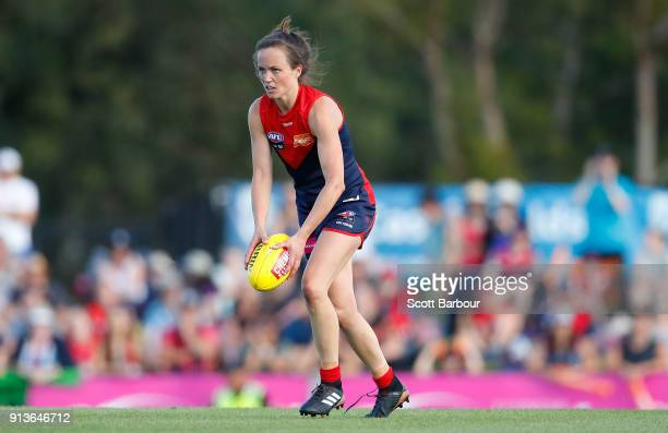 Daisy Pearce of the Demons runs with the ball during the round one AFLW match between the Melbourne Demons and the Greater Western Sydney Giants at...