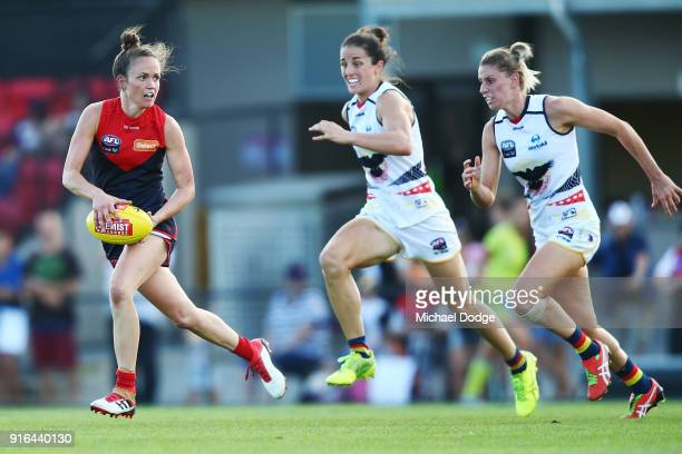 Daisy Pearce of the Demons runs with the ball during the round two AFLW match between the Melbourne Demons and the Adelaide Crows at Casey Fields on...