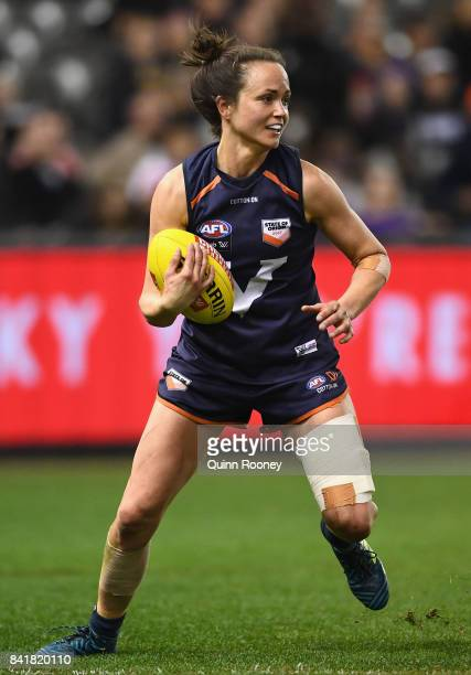 Daisy Pearce of Victoria gathers the ball during the AFL Women's State of Origin match between Victoria and the Allies at Etihad Stadium on September...