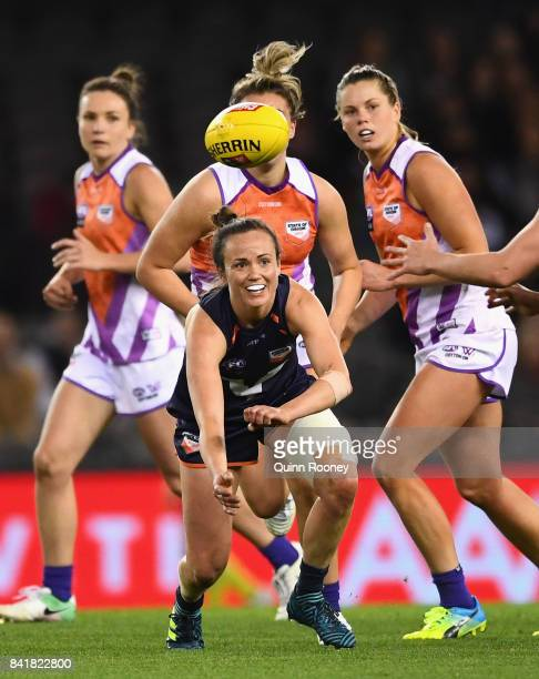 Daisy Pearce of Victoria handballs during the AFL Women's State of Origin match between Victoria and the Allies at Etihad Stadium on September 2 2017...