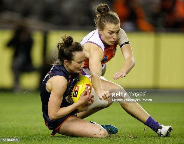 Daisy Pearce of Victoria in action during the AFL Women's State of Origin match between Victoria and the Allies at Etihad Stadium on September 2 2017...