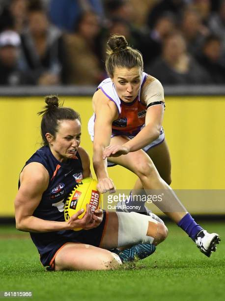 Daisy Pearce of Victoria marks during the AFL Women's State of Origin match between Victoria and the Allies at Etihad Stadium on September 2 2017 in...
