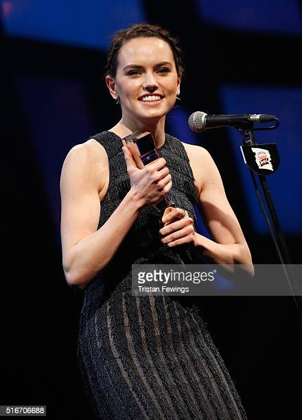 Daisy Ridley accepts the award for Best Female Newcomer on stage during the Jameson Empire Awards 2016 at The Grosvenor House Hotel on March 20 2016...