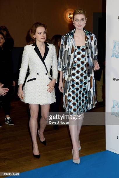 Daisy Ridley and Elizabeth Debicki attend the Peter Rabbit Gala Premiere at Vue West End on March 11 2018 in London England