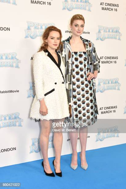 Daisy Ridley and Elizabeth Debicki attend the UK Gala Premiere of 'Peter Rabbit' at the Vue West End on March 11 2018 in London England
