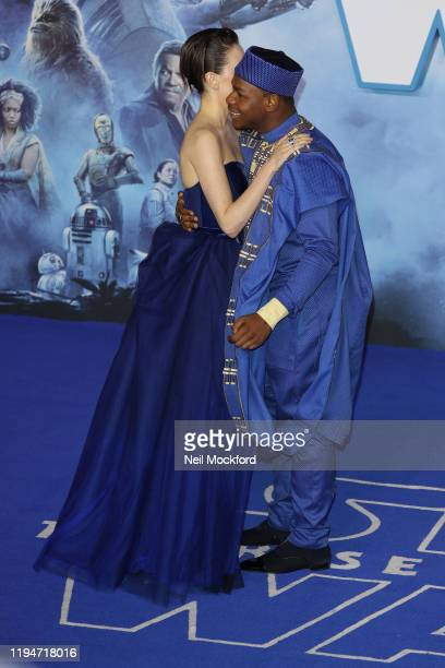 Daisy Ridley and John Boyega attend Star Wars The Rise of Skywalker European Premiere at Cineworld Leicester Square on December 18 2019 in London...