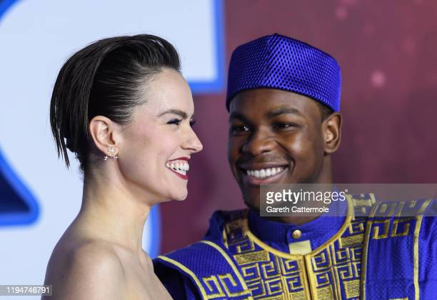 Daisy Ridley and John Boyega attend the European premiere of Star Wars The Rise of Skywalker at Cineworld Leicester Square on December 18 2019 in...