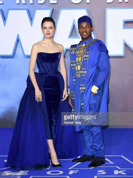 Daisy Ridley and John Boyega attend the Star Wars The Rise of Skywalker European Premiere at Cineworld Leicester Square on December 18 2019 in London...
