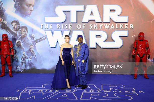 Daisy Ridley and John Boyega attends the Star Wars The Rise of Skywalker European Premiere at Cineworld Leicester Square on December 18 2019 in...