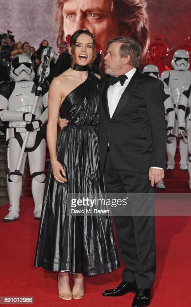 Daisy Ridley and Mark Hamill attend the European Premiere of 'Star Wars The Last Jedi' at the Royal Albert Hall on December 12 2017 in London England