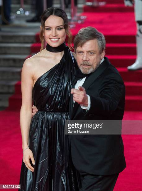 Daisy Ridley and Mark Hamill attend the European Premiere of 'Star Wars The Last Jedi' at Royal Albert Hall on December 12 2017 in London England