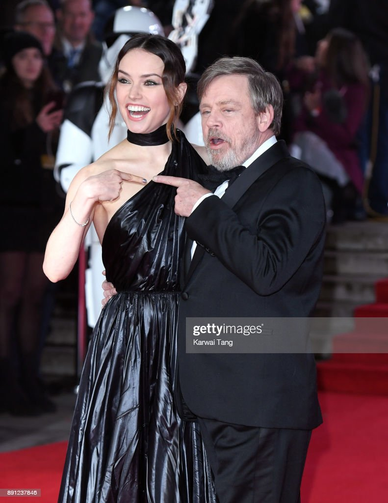 Daisy Ridley and Mark Hamill attend the European Premiere of 'Star Wars: The Last Jedi' at Royal Albert Hall on December 12, 2017 in London, England.