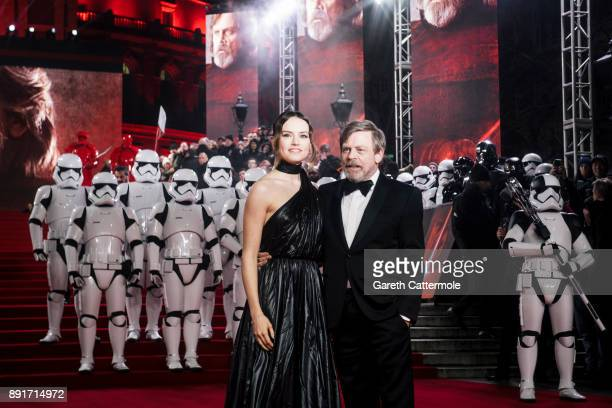 Daisy Ridley and Mark Hamill attend the European Premiere of Star Wars The Last Jedi at the Royal Albert Hall on December 12 2017 in London England