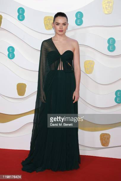 Daisy Ridley arrives at the EE British Academy Film Awards 2020 at Royal Albert Hall on February 2, 2020 in London, England.