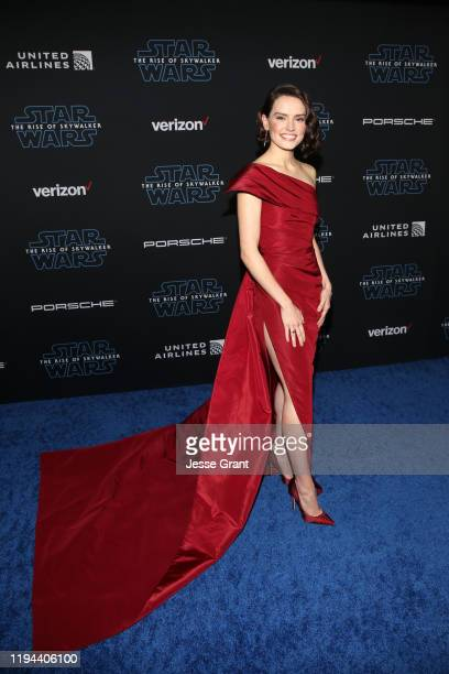 """Daisy Ridley arrives for the World Premiere of """"Star Wars: The Rise of Skywalker"""", the highly anticipated conclusion of the Skywalker saga on..."""