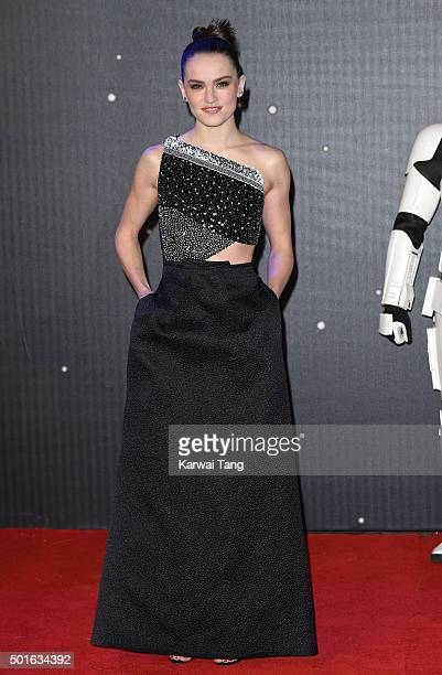 Daisy Ridley attends the European Premiere of Star Wars The Force Awakens at Leicester Square on December 16 2015 in London England