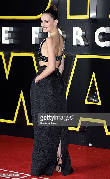 Daisy Ridley attends the European Premiere of 'Star Wars The Force Awakens' at Leicester Square on December 16 2015 in London England