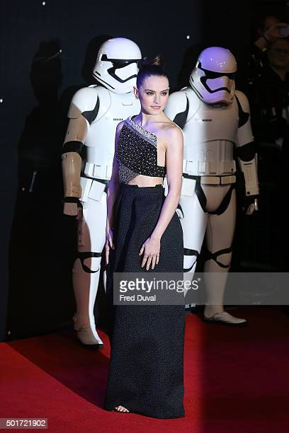 Daisy Ridley attends the European Premiere of 'Star Wars' The Force Awakens at Leicester Square on December 16 2015 in London England