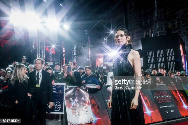 Daisy Ridley attends the European Premiere of Star Wars The Last Jedi at the Royal Albert Hall on December 12 2017 in London England