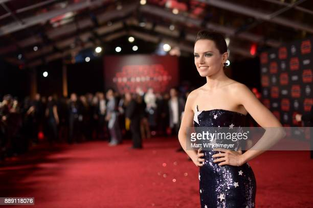 Daisy Ridley attends the premiere of Disney Pictures and Lucasfilm's Star Wars The Last Jedi at The Shrine Auditorium on December 9 2017 in Los...