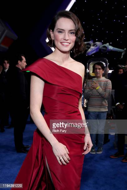"Daisy Ridley attends the Premiere of Disney's ""Star Wars: The Rise Of Skywalker"" on December 16, 2019 in Hollywood, California."