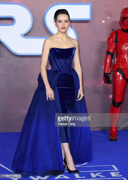 "Daisy Ridley attends the ""Star Wars: The Rise of Skywalker"" European Premiere at Cineworld Leicester Square on December 18, 2019 in London, England."