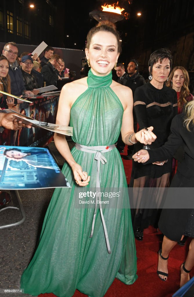 Daisy Ridley attends the World Premiere of 'Murder On The Orient Express' at The Royal Albert Hall on November 2, 2017 in London, England.