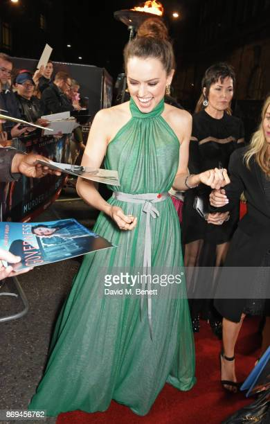 Daisy Ridley attends the World Premiere of Murder On The Orient Express at The Royal Albert Hall on November 2 2017 in London England