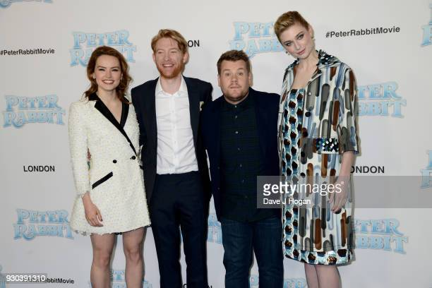 Daisy Ridley Domhnall Gleeson James Corden and Elizabeth Debicki attend the Peter Rabbit Gala Premiere at Vue West End on March 11 2018 in London...