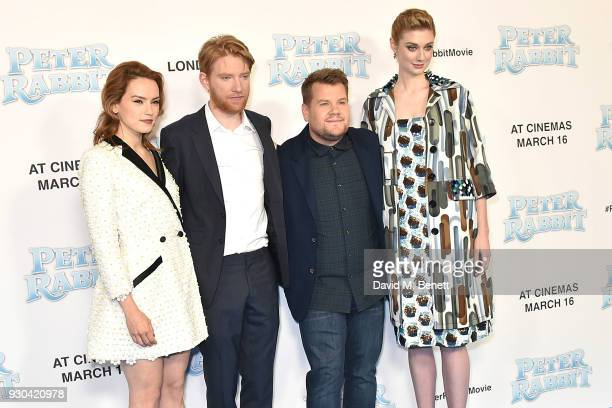 Daisy Ridley Domhnall Gleeson James Corden and Elizabeth Debicki attend the UK Gala Premiere of 'Peter Rabbit' at the Vue West End on March 11 2018...